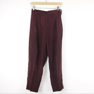 Vintage high waisted pleated silk cropped pants